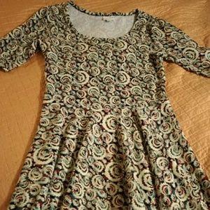 Lularoe M GUC NICOLE MULTICOLOR SWIRL DRESS